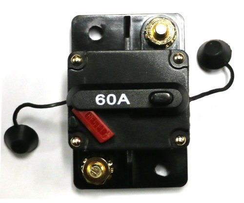 Caliber Cb60 60Amp Marine Grade Circuit Breaker 60A W/ Manual Reset And Free Cover, Compatible With All 12, 24 And 36 Volt Systems For Electric Trolling Motors.