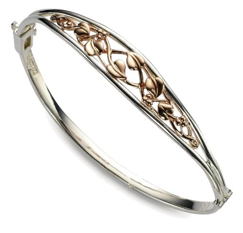 Clogau Gold Sterling Silver Tree of Life Bangle with 9ct Rose Gold Detailing
