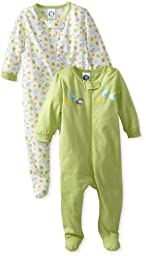 Gerber Unisex Baby 2 Pack Zip Front Sleep \'N Play, Animals Green, Newborn