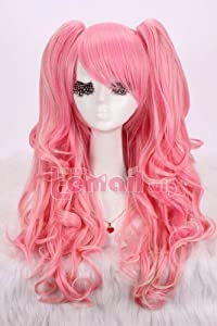 Taobaopit 65cm Long Pink and Blonde Anime Lolita Clip on Ponytail Wavy Cosplay Wig