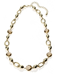 M&S Collection Gold Plated Multi-Faceted Bead Channel Necklace