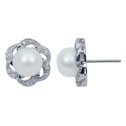 Sterling Silver Flower Stud Earrings with Cubic Zirconia and 9-10mm White Freshwater Pearl, Free Shipping and Gift Box