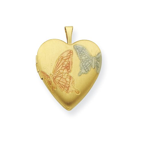 Gold Plated Sterling Silver 20mm Satin, Enameled, Butterfly Locket