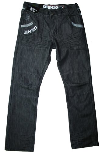 Enzo men's ez96 regular fit blackwash jean, 34W 32L