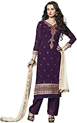 Shree Sai Exports Women's Georgette Unstitched Dress Material (Maroon)