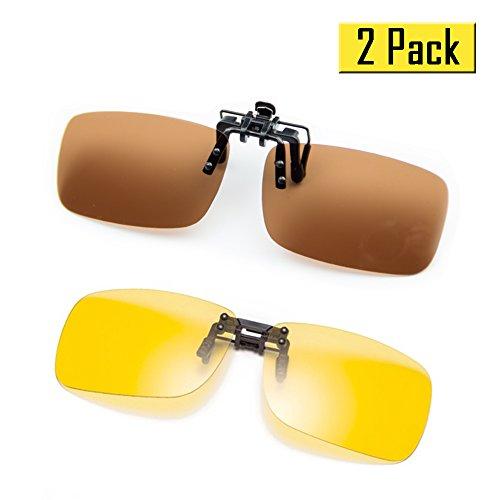 Cyxus [2 pezzi] lenti polarizzate Classic Clip-On Occhiali da sole, [antiriflesso] [protezione UV] di guida / Pesca / Sport / Night Vision Eyewear, uomini & donne