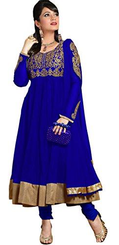 Mrig Women Faux Georgette Salwar Suit Dress Material (El30010 _Biege And Blue _Free Size)