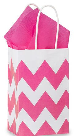Hot Pink & White Chevron Small Shopper Gift Bags - Quantity Of 25 front-988696