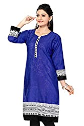 Karan Kurtis Womens Cotton Aline Kurta (Kurtis-0354-Xl_Blue)