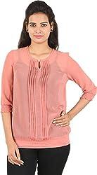 Amadeo Women's 3/4 th Sleeve Top (KRISHA24, Coral, Small)