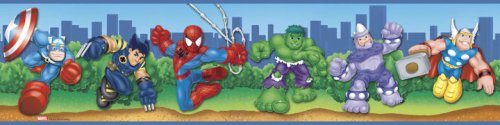 RoomMates RMK1026BCS Spider-Man and Friends Peel & Stick Border
