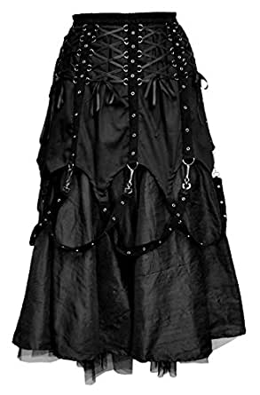 Dark Star Gothic Lace Up Strap Hard Cotton/Dupion Skirt DS/SK/7032 Black Free size/UK 10 12 14 16*