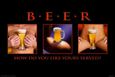 Beer How Do You Like Yours Served Sexy College Girls Art Print Poster - 36x24 Poster Print, 36x24 Poster Print, 36x24