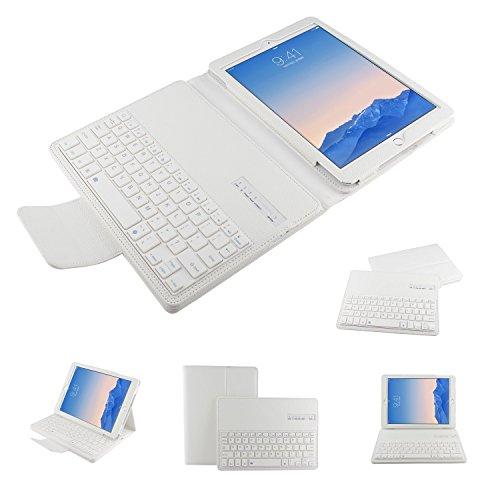 PopSky Apple iPad Air 2  (iPad 6) ケース キーボード分離可能2014 全2色Apple iPad Air 2 (iPad 6) 9.7 インチ専用 Bluetooth3.0搭載 ワイヤレスブルートゥースキーボードケース、キーボード付き 高級PUレザーケース自動スリープ機能付きとスタンド機能付き Bluetooth keyboard case for iPad 6  (ホワイト)