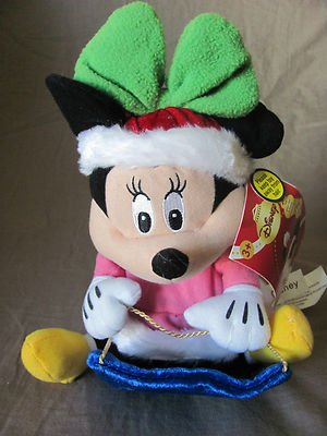 "Disney Minnie Mouse Wobblin' Toboggan 11"" Plush Toy with Sounds"