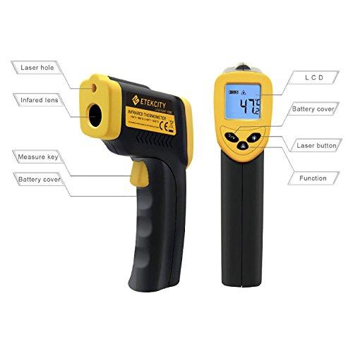 Etekcity® 1080 Termómetro Infrarrojo Digital Láser IR Sin Contacto, Pistola de Temperatura -50 ℃ a 550 ℃, Amarrillo/Negro