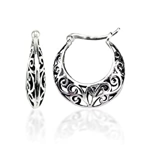 Sterling Silver Bali Inspired Filigree Round Hoop Earrings