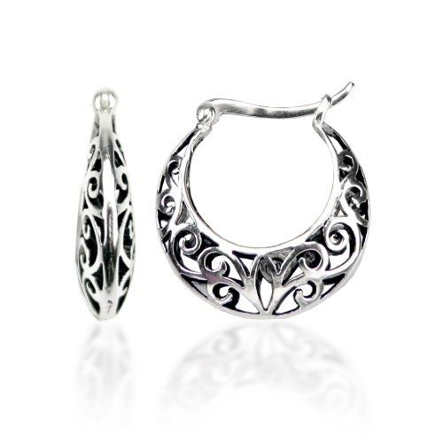 Sterling Silver Bali Inspired Filigree Round Hoop Earrings Picture