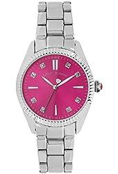 Betsey Johnson Women's Silver-Tone Bracelet Watch with Fuchsia Pink Face 36mm BJ00441-01