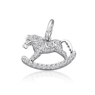 Sterling Silver CZ Rocking Toy Horse Charm