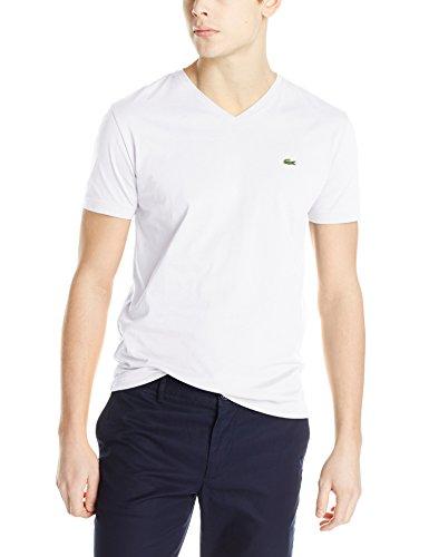 Lacoste Short Sleeve Pima Jersey V-neck T-shirt (S, White)