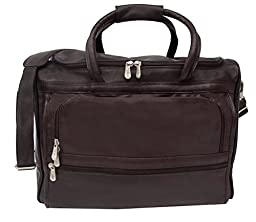 Piel Leather Traveler Computer Carry-All Bag in Chocolate