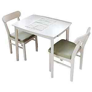木製 ダイニング3点セット 引出付テーブル幅80cm チェア2脚/ホワイトウォッシュ