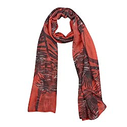 FabSeasons Red Cotton Geometric Print Scarf, Scarves, Stole and Shawl for Girls and Women