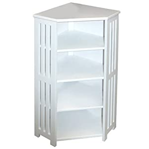 Mission bathroom corner storage shelf unit white - White bathroom corner shelf unit ...