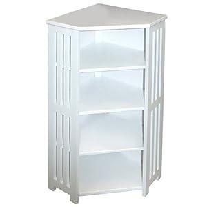 Mission Bathroom Corner Storage Shelf Unit White Kitchen Home