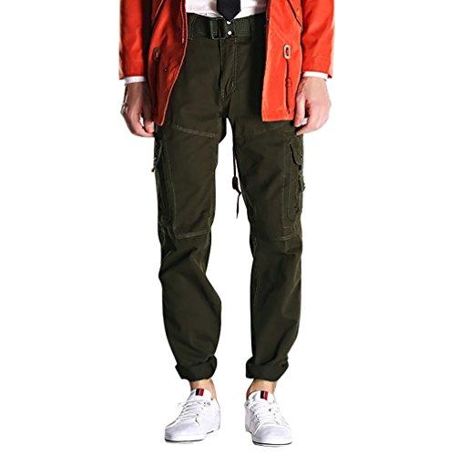 NiSeng Pantaloni Lunghi Cargo Jogger con tasconi laterali Pantaloni da lavoro Combat da Uomo (senza cinghia) Army Green 5XL
