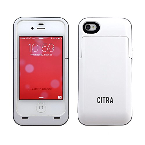 Citra 2000Mah Rechargeable External Battery Case Power Bank For Iphone 4 4S (White)