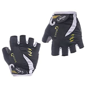 Masione Breathable Soft Elastic Lycra Material Velcro Strap Padded Ventilated Bike Bicycle Cycling Mountain Road Half Gel Silicone Antiskid Finger Gloves/ Half Finger Gloves / Sport Gloves Mitten/ Fingerless Cycle Mitts