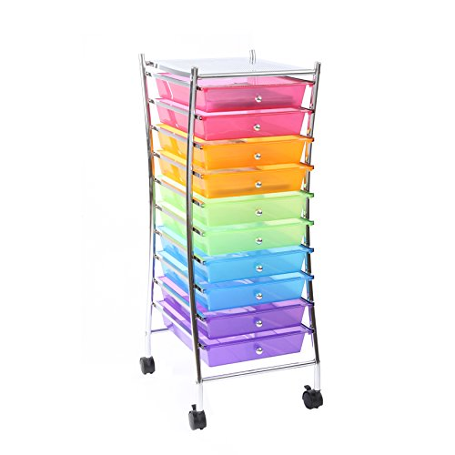 Finnhomy 10 Drawer Rolling Storage Cart Utility Mobile Organizer with Drawers for Office, Home, Beauty Salon Bright Chrome Metal Frame and Semi-transparent Mutli Color (24 Deep File Cabinet compare prices)