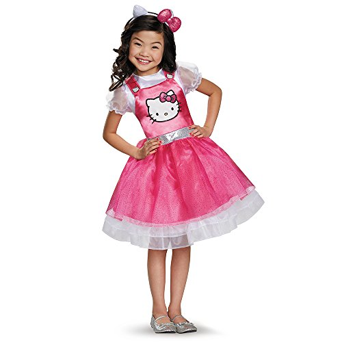 Disguise 93621L Hello Kitty Pink Deluxe Costume, Small (4-6x)