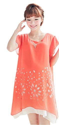 Am Clothes Womens Sexy Chiffon Print Short Sleeve Maternity Dress X-Large Orange