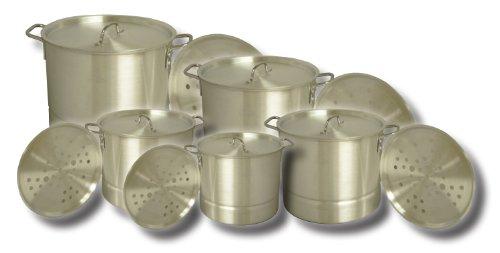 King Kooker Aluminum 5 Pot Set Includes: 20, 24, 32, 40 & 52 Quart Pots With Lids And Steamer Plates, # Kk20-52