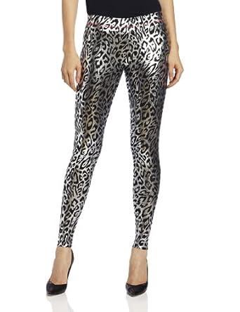 Betsey Johnson Women's Liquid Leopard Metalic Legging, Silver, Small/Medium