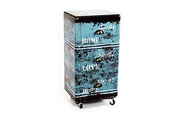 Mueble cajonera retro en color azul con 3 cajones