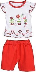 Kandyfloss Girls' Dress (Red & White, 3-6 Months)
