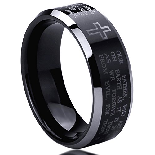 8Mm Stainless Steel Wedding Band Ring Lord'S Prayer Engraved With Cross Praying Beveled Edges Black Ring (6 To 14) - Size: 11