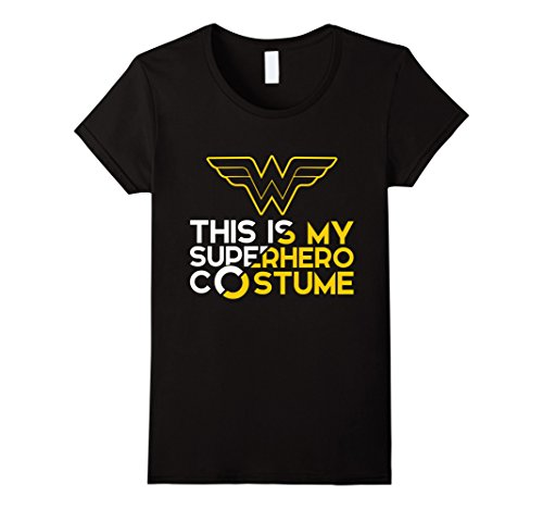 Women's Wonder Superhero Comic Fan Halloween Costume Geek Shirt XL Black (Plus Size Female Superhero Costumes)