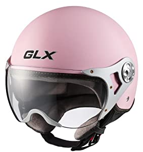 GLX Copter Style Open Face Motorcycle Helmet (Matte Pink, Large)