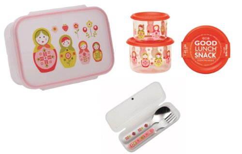 Sugarbooger Divided Lunch Box, (2) Small Storage Containers, and Silverware- Matryoshka Doll - 1
