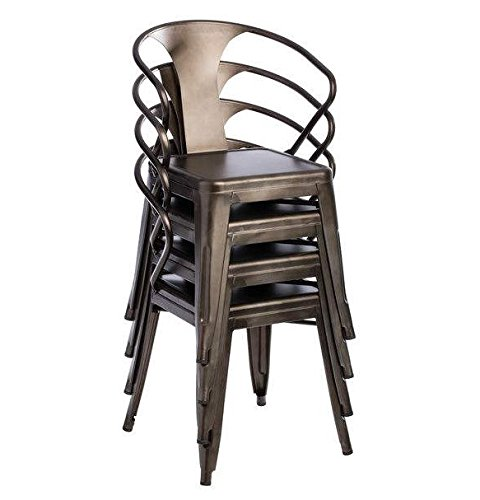 Tabouret Stacking Chair (Set of 4). This Set Of Dining Room Chairs Is Perfect For Adding A Vintage Look To Your Home. Crafted With A Solid Steel Construction And Coated With A Scratch-Resistant Finish These Chairs Will Last In Quality In Style. 2