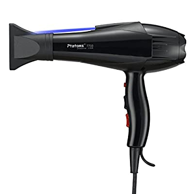 Ptatoms AC 2100w Constant Temperature Professional Hair Dryer with Blue light negative ionic function 2 Speeds - 3 Heat Settings for home barbershop -Black