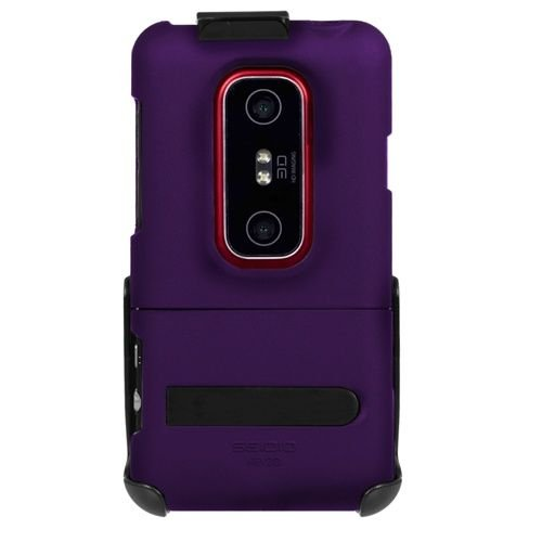 Seidio Bd2-Hr3Hev3Dk-Pr Surface Combo Hard Case With Kickstand & Holster For Htc Evo 3D - 1 Pack - Retail Packaging - Amethyst