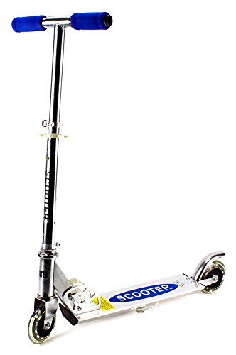 Roller Al Children'S Two Wheeled Metal Toy Kick Scooter W/ Integrated Scooter Stand, Light Up Wheels (Blue)