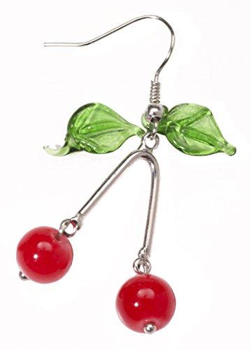 Forum Novelties Women's Retro Rock Novelty Cherry Earrings, Multi, One Size