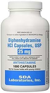 Generic Benadryl Allergy - Diphenhydramine (25mg) - 1000 Capsules
